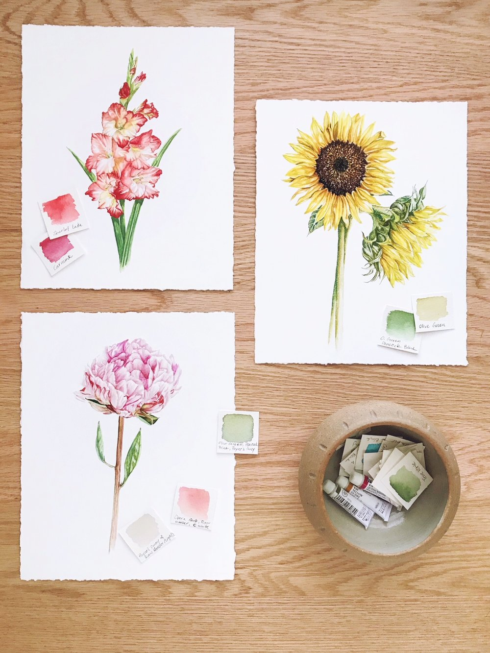 Gladiolus, Peony, & Sunflowers -   These are art prints that are available in my shop.