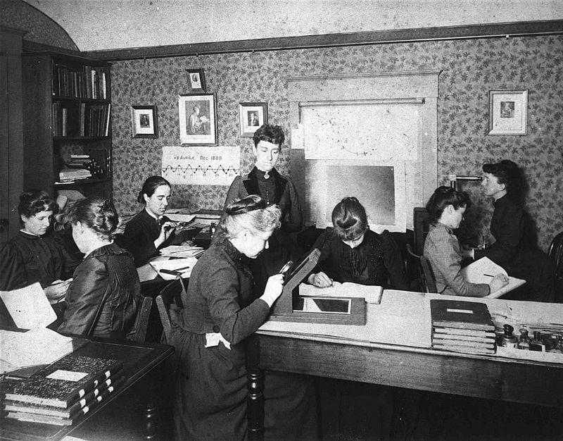 Astronomer Edward Charles Pickering's Harvard  computers, circa 1890.