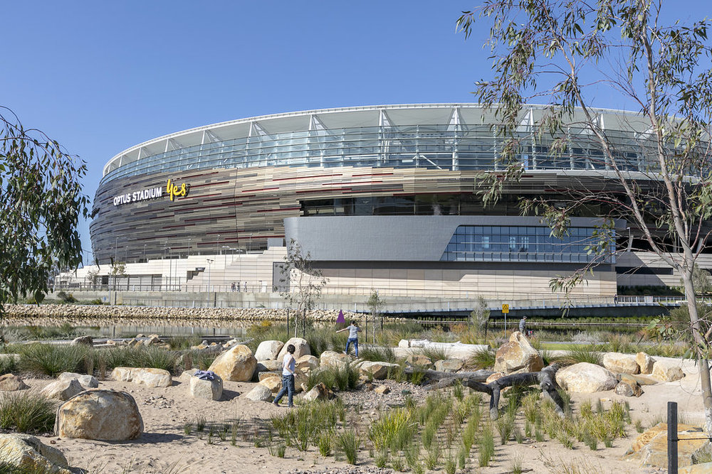 15. Optus Stadium - Optus Stadium has capacity of over 60,000 people, making it the third-largest stadium in Australia. The stadium's innovative design is intended to feel distinctly local, with architecture and landscaping that reflect the state's proud sporting, cultural and Aboriginal heritage.