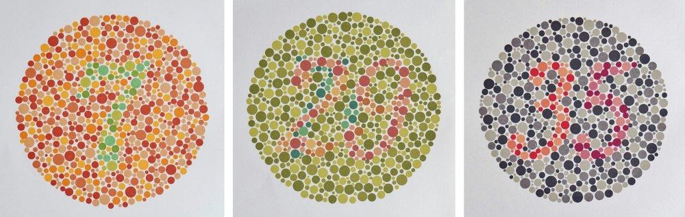 Ishihara-Tafeln zur Prüfung des Farbensehens