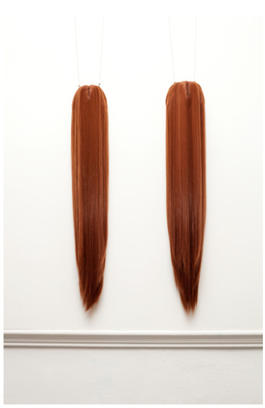 a silent dance, 2013, two wigs