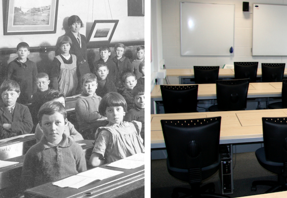 'Classrooms have not really changed in the last 100 years,'  Bill Gates , January 2016  (picture credits:  theirhistory ;    James F Clay )
