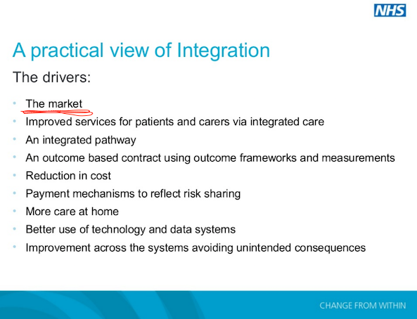 From  presentation  by Martin Peat of the Strategic Projects Team at the Open Forum Events 'NHS Commissioning and Procurement conference', 2014