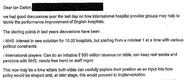 Email from McKinsey (name redacted) to Ian Dalton at the Department of Health, 9 November 2010