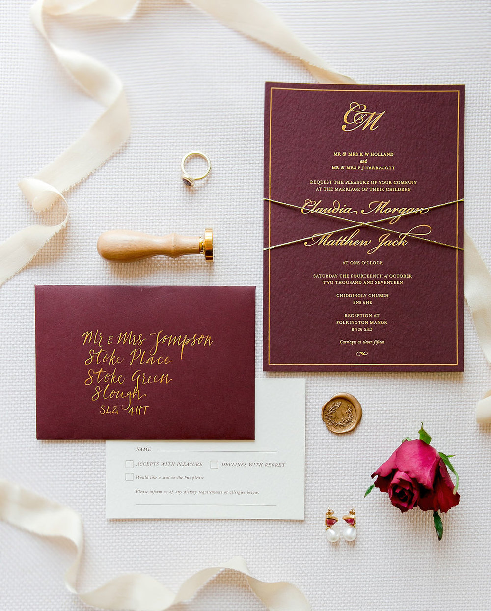 folkington_manor_claret_dappled_wedding_invite_stationery_monogram_gold_foil_wax_seal_06.jpg