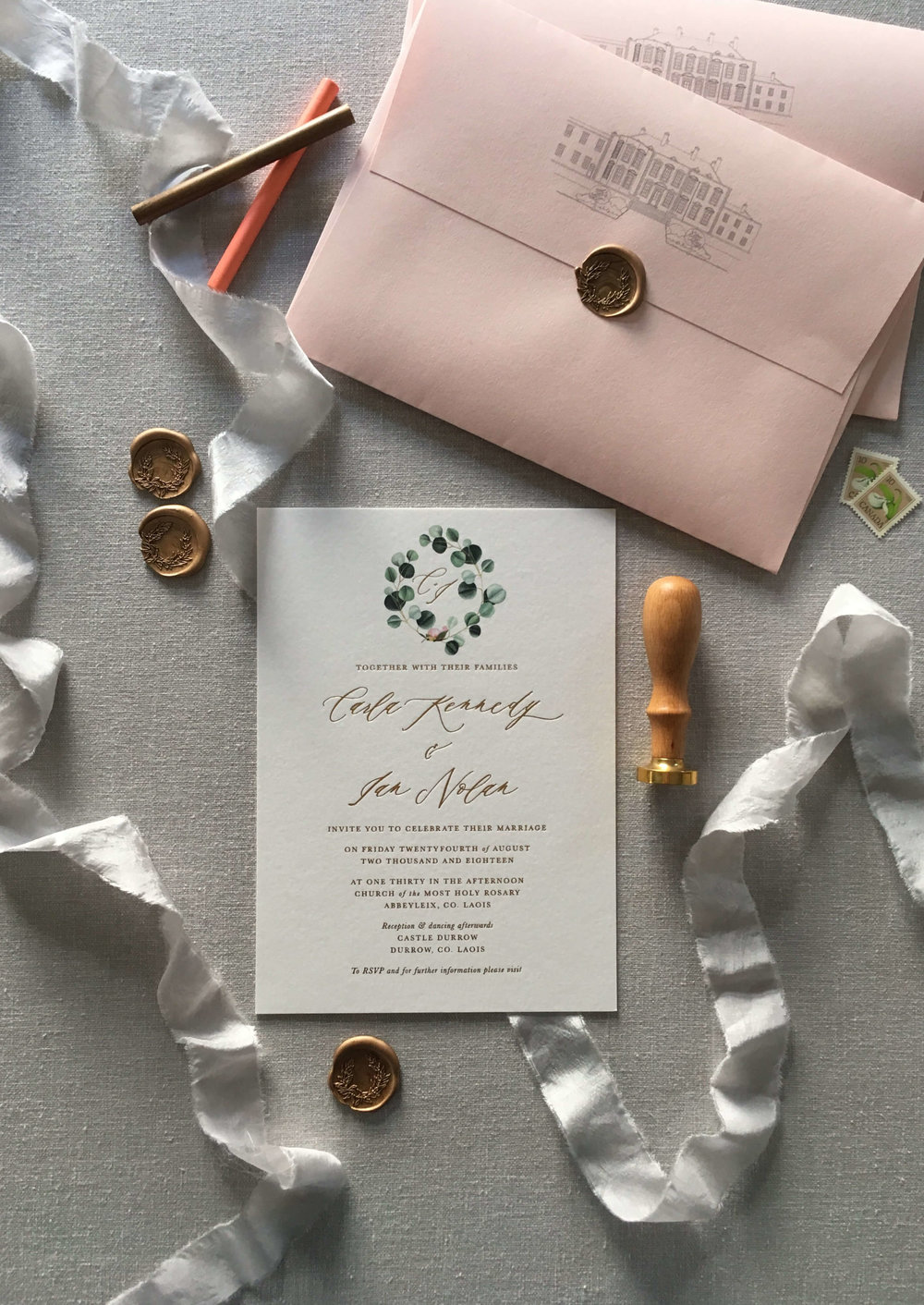 castle_durrow_gold_foil_invite_botanical_wax_seal_wedding_stationery_01.jpg