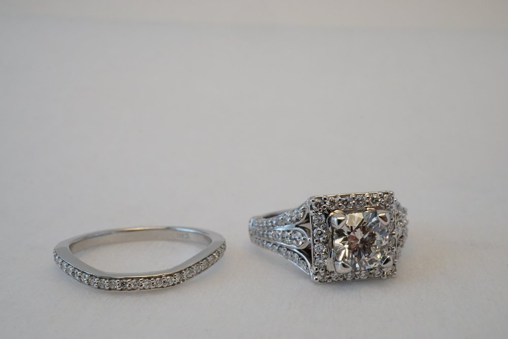 This piece they searched for the right cushion cut center diamond, and then picked out the engagement ring and wedding band as stock bands. I then set all the stones and did the finishing touches on this ring.
