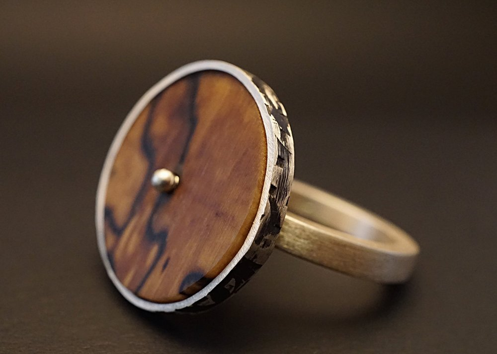 Spalted hackberry wood spinner ring