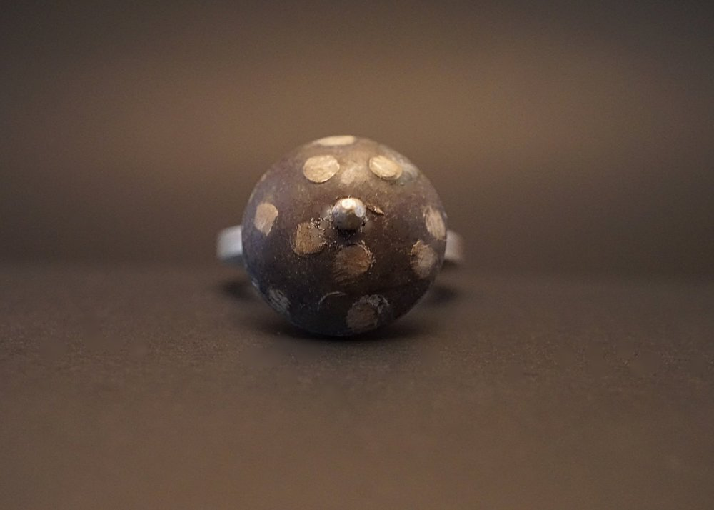 Domed sterling silver spinner ring