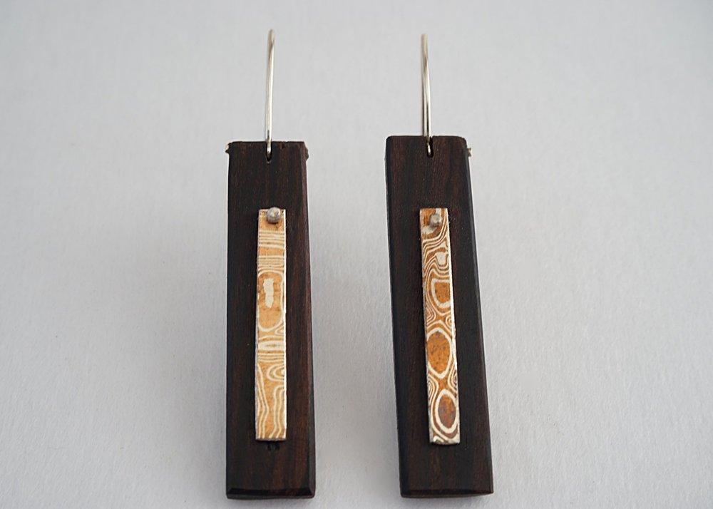 Mokume-gane and bolivian rosewood earrings