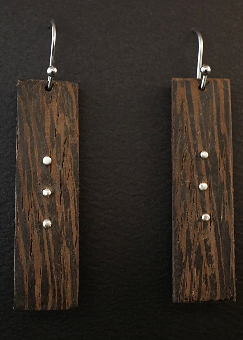 Wenge wood and sterling silver earrings