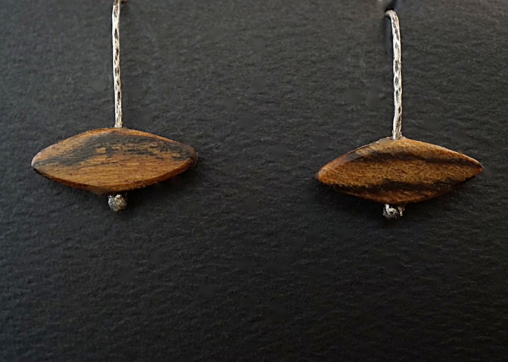 Bocote and hammered sterling silver earrings