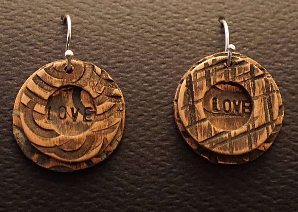 Hand stamped love copper earrings