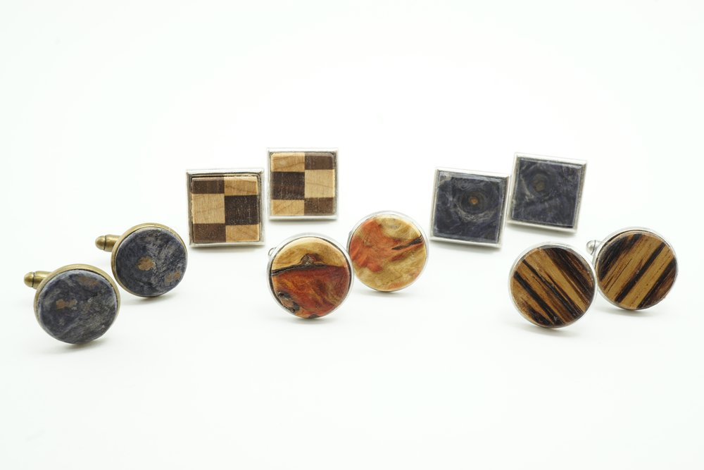 Exotic wood cuff links