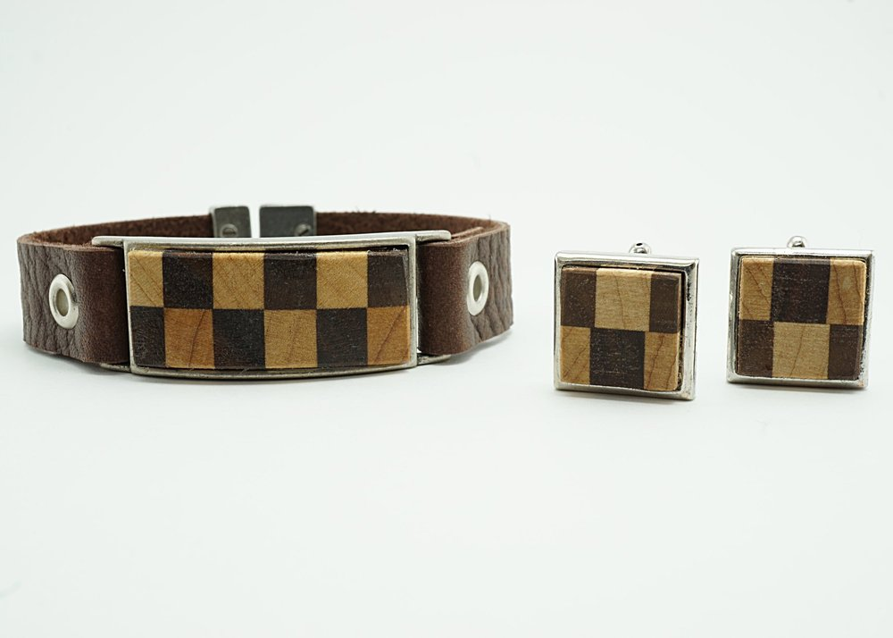 Walnut and maple bracelet and cuff links