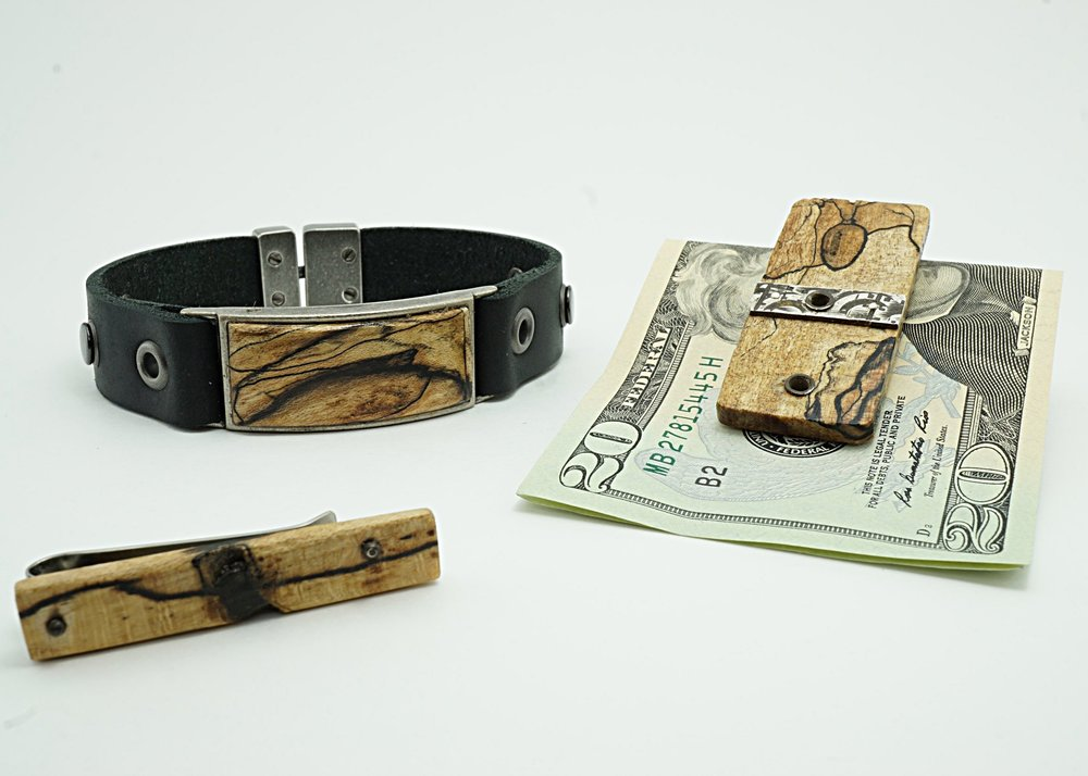 Exotic wood bracelet, tie clip, and money clip