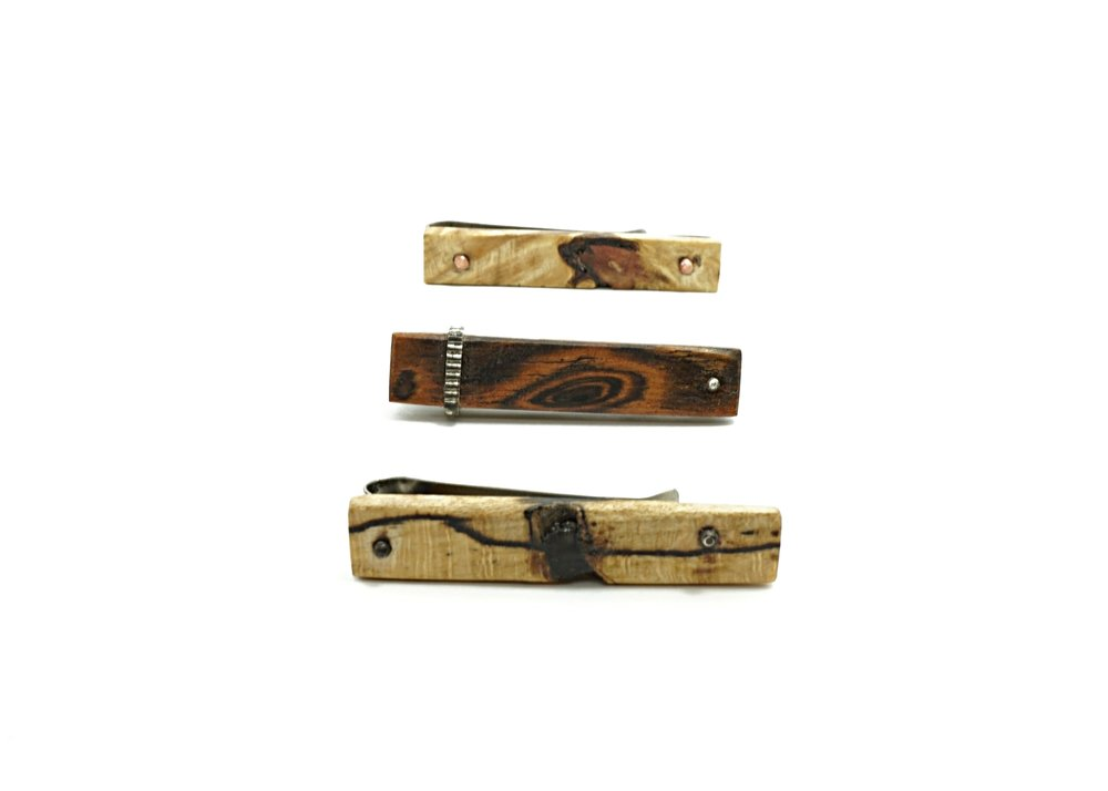 Exotic wood tie clips