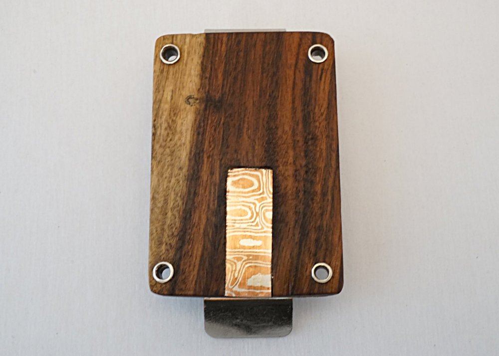 Bolivian rosewood with mokume-gane money clip