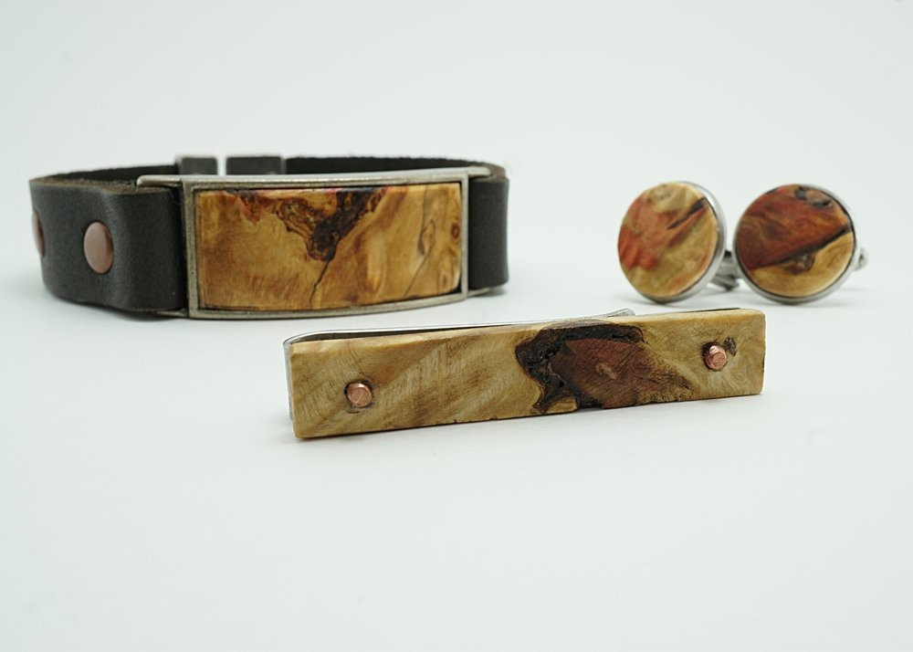 Box Elder burl bracelet, tie clip, and cuff links