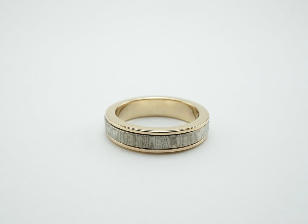 14k Mokume-gane spinner wedding ring