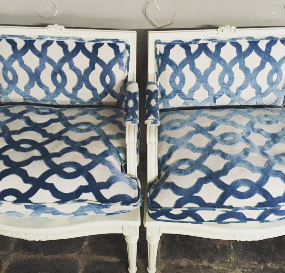 French Provincial Chairs with Teal Cut Velvet