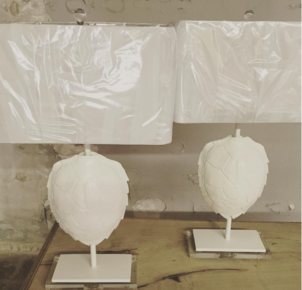 Gloss White Tortoise Shell Lamps with Acrylic Bases