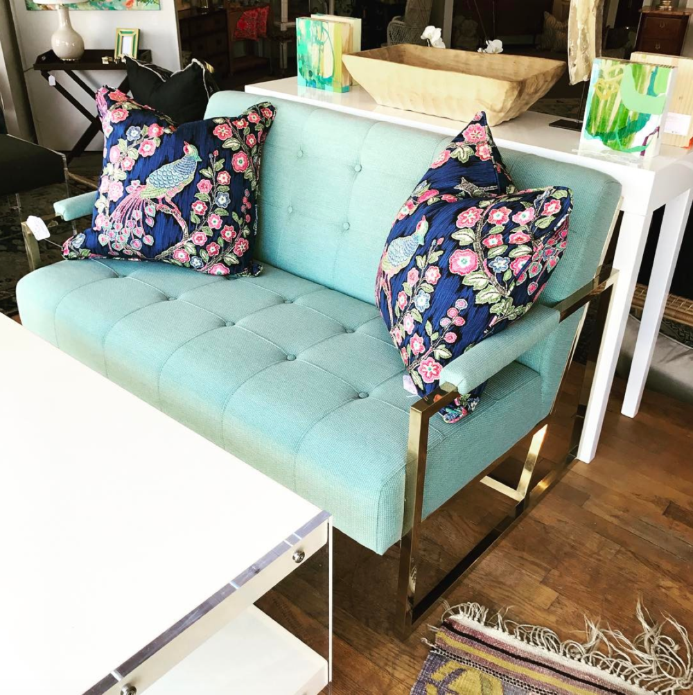 Turquoise Settee with Gold Base and Peacock Pillows