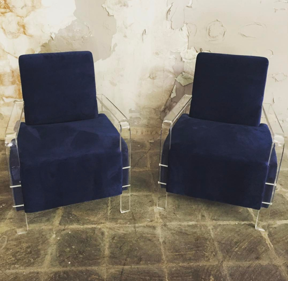 Navy Lucite Club Chairs