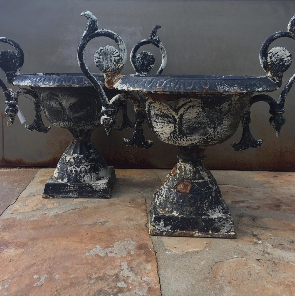 Ornate Cast Iron Urns from France
