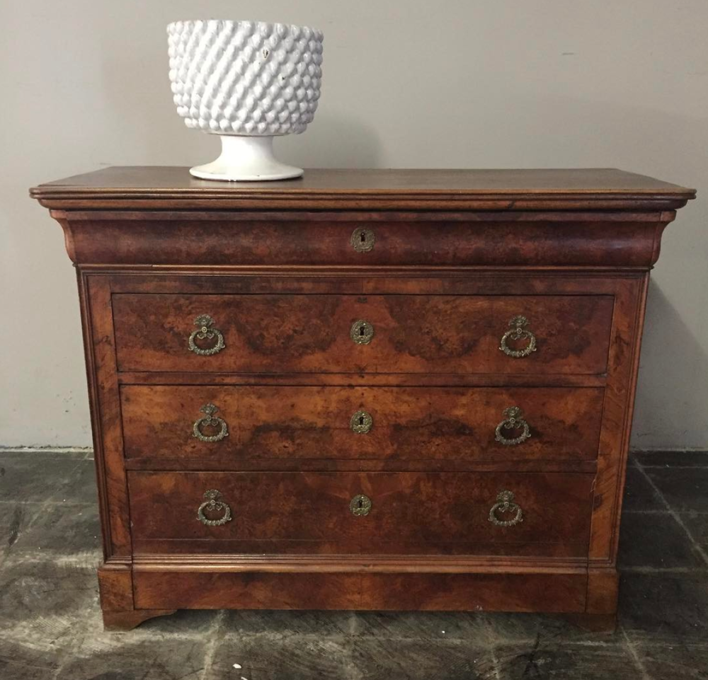 Burled Walnut French Empire Commode, circa late 1800's