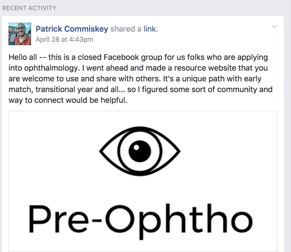 pre-ophtho facebook group