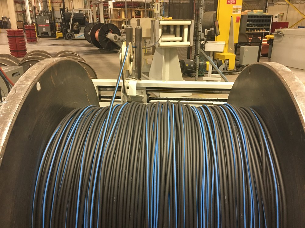 1-31-17 Stripe extruder first trial run 1ga with 8th inch blue stripe .JPG