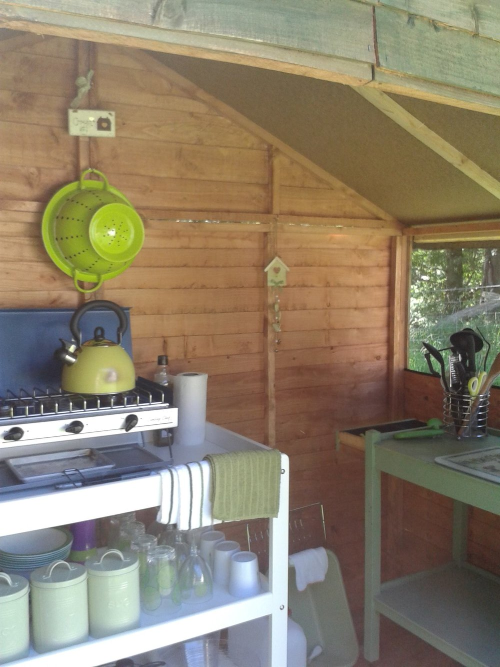 Glamping kitchen shed