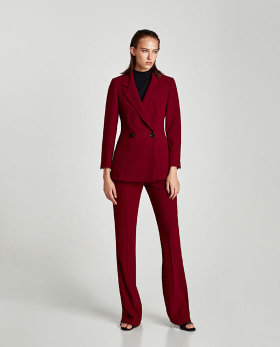 Zara RED Jacket and trousers colour of the moment. I love it- its not for everyone and you need to find your tone within the colour wheel. This is burgundy and its warmer and deeper than the cool toned pillar box reds. Its a simple unfussy example of double breasting, but fuller breasted women, still approach with caution. Look at the wrist length though. good for petits. Trousers long but with a slim palazzo vibe, good for most body types, if you are really tiny these high waisted culotte style trousers are amazing, and come in a few colours.