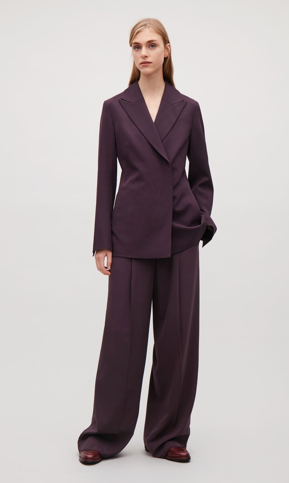 God I LOVE this suit, its feels and looks way more expensive than it is. Its COS  Blazer  is £150  trousers  are £89 both are stunning as one pieces and actually with a bit of tailoring on the trouser hem, this will suit most body types. The colour is hugely versatile too, and will marry into most wardrobes as its not a glaring shade.