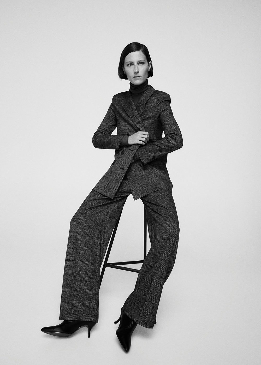 Mango- check double breasted long line blazer and wide leg trouser. These pieces look amazing as separates too.