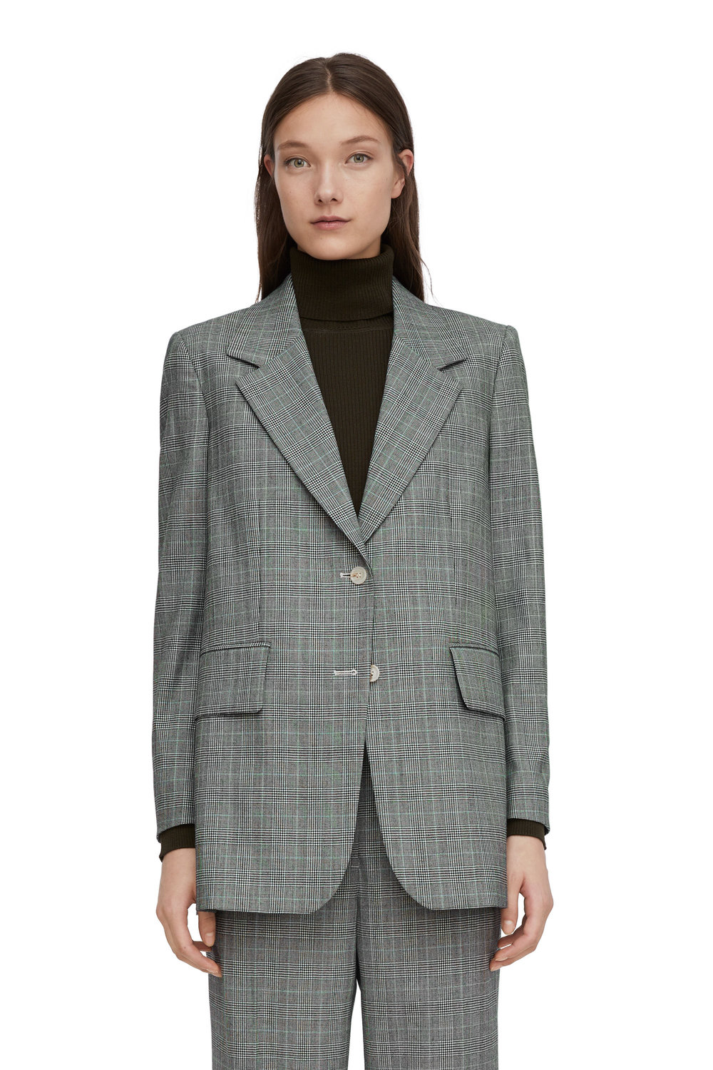 Arket Wool blend checked suit. (jacket)  Really good value and its lined. I have had great success with Arket suits so far, well worth trying on- it doesn't photograph as well as it actually is.