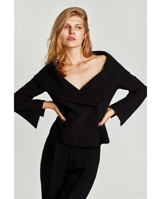 Zara dbl breasted shoulder V cropped jacket. Now I actually think this may suit some curvier women as its cropped and comes in at the waist and that big exposed sweep of decolletage is just the right side of plunging, to be flattering. Well worth trying this on. Jacket £69.99