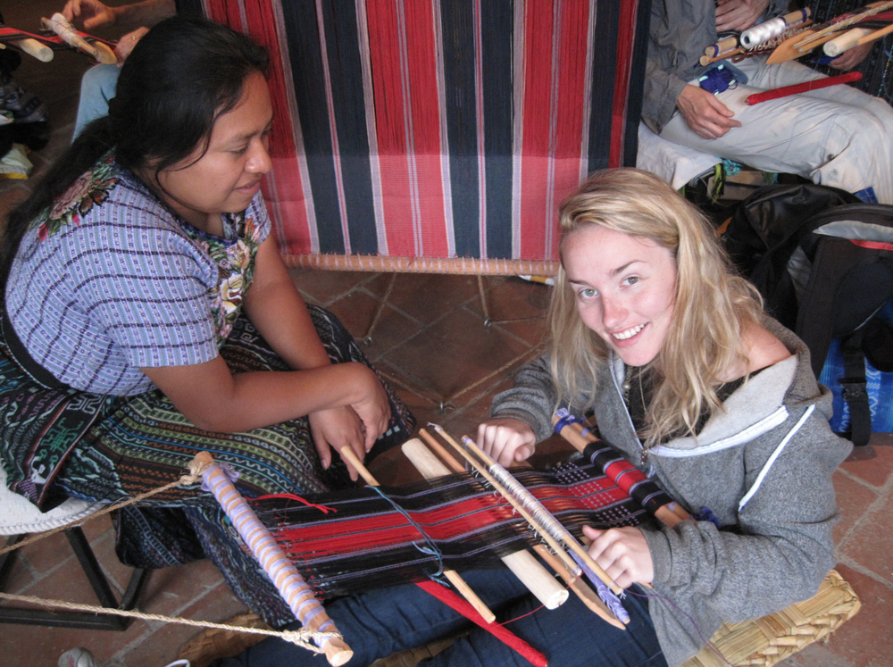 Weaving class with the women of the Cojolya Association