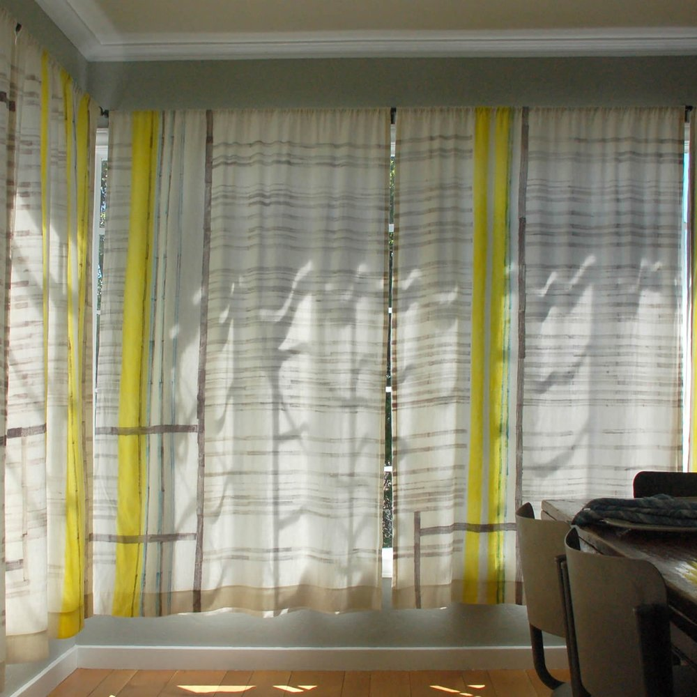 Line and Bars print on medium linen. We printed this pattern especially for the dining room of some beloved, longtime neighbors.