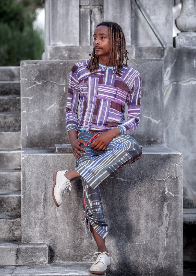 Kenny in the Sweetshirt and Rook trousers. Photograph by Whitney Freedman. Available by custom order.