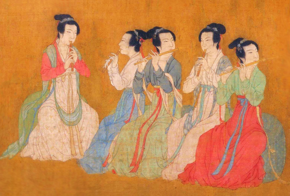 Maidens play the flute for Minister Han Xizai in this 10th century painting, 'Night Revels of Han Xizai.' (Image from    Shen Yun Performing Arts )