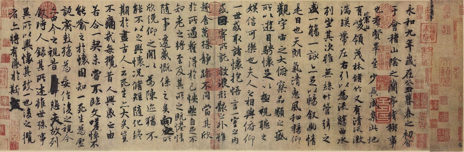 Figure 1.  Lantingji Xu  attributed to Feng Chengsu, Tang dynasty, who copied the original by Wang Xizhi, which has since been lost. Ink on paper. Palace Museum in Beijing.