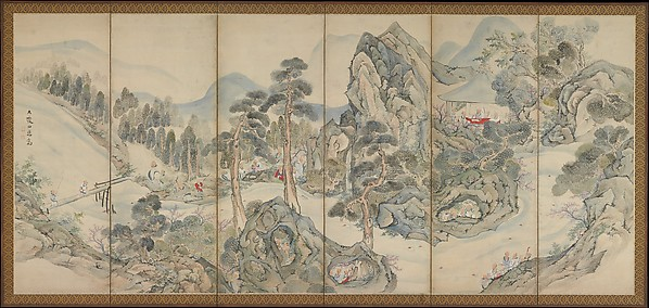 Figure 2.  Orchid Pavilion Gathering  by Japanese artist Ike Taiga, a six-panel folding screen at the Metropolitan Museum of Art.  A most civilized drinking game involving 42 literary celebrities of the day.