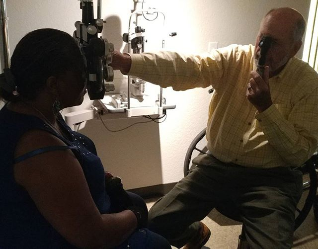 Today Dr. Diehl held a clinic at Skyline. This patron had not gotten an eye exam in years and had been relying on store-bought reading glasses to see.