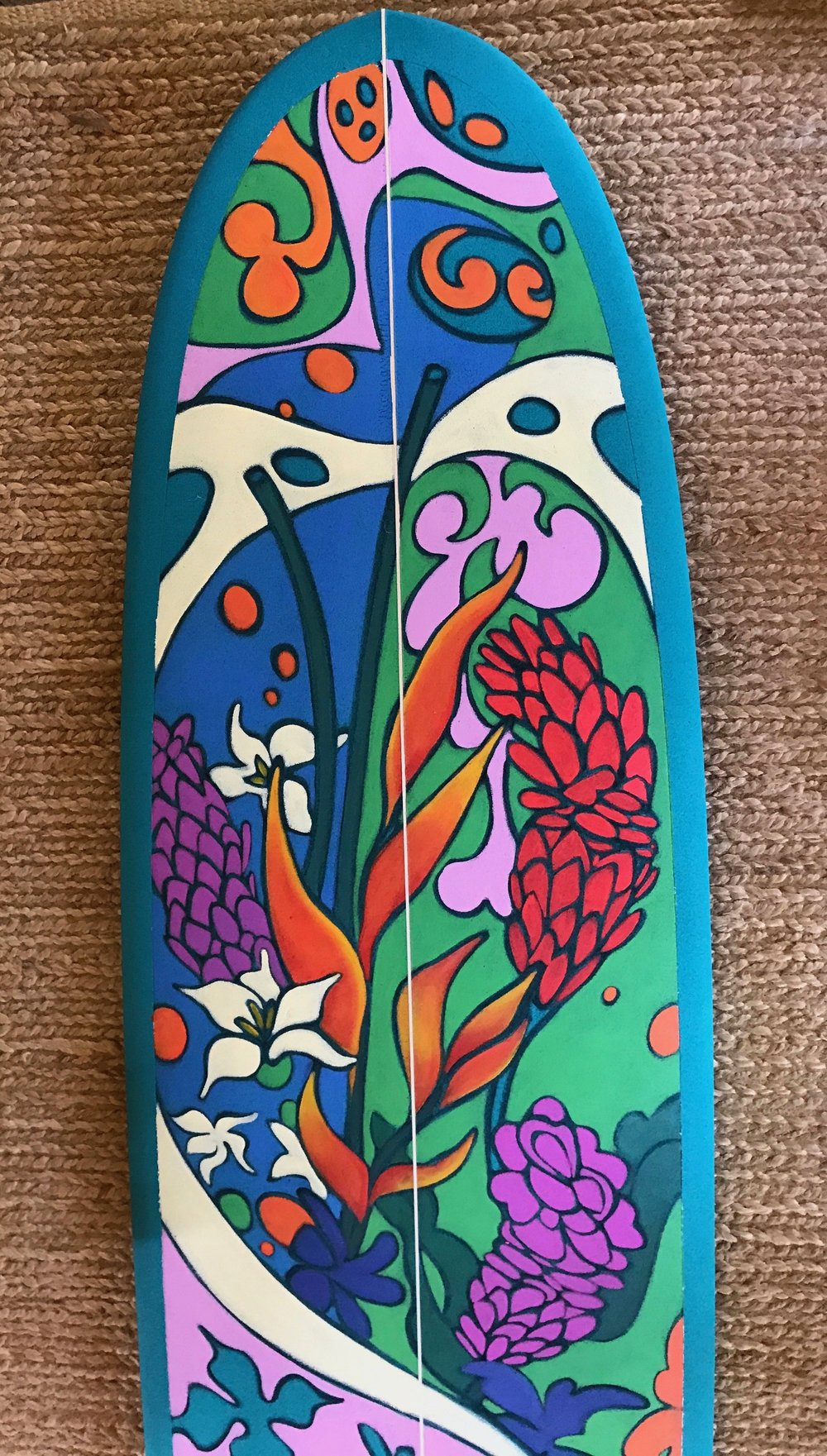 """Pua Power"" 7'10"" Longboard ~ ""Pua"" in Hawaiian means ""flower"""