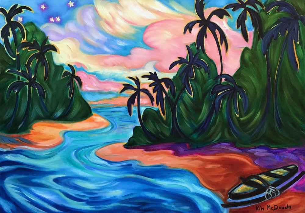 """Star Light Star Bright"" is an original oil painting. Kim's new series ""Twilight in the Tropics"" is inspired by the glow from the sky when the sun is below the horizon. Maui's magical sun being scattered across the sky as day turns into night."