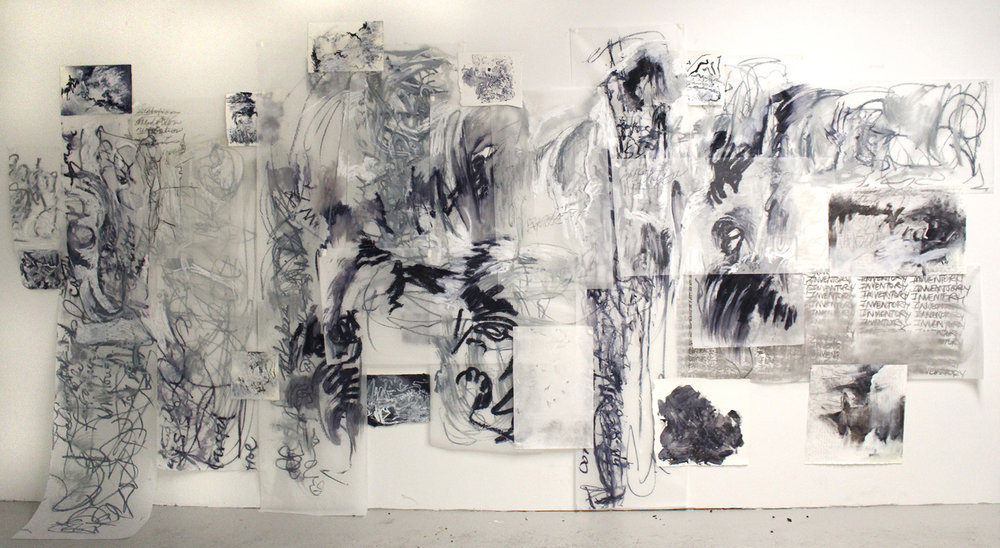 Inventory  , oil and charcoal on translucent paper, 72 x 120 inches, 2016.