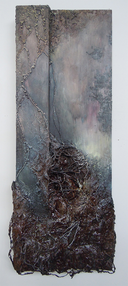 Uncontrolled Strain  , acrylic, dirt, polyurethane adhesive,and steel galvanized wire on wood panel, 50 x 18 inches, 2014.