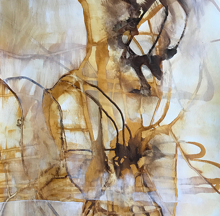 Impossibly Tangled, Completely Intertwined  , ink and acrylic on paper, 30 x 22.5 inches, 2016-17.
